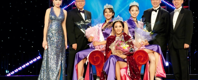Everlyn Ho and the beauty pageant winner and board member
